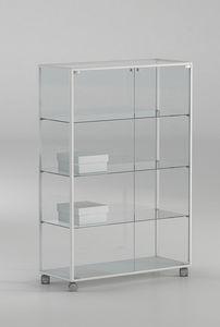 ALLdesign plus 91/14P, Schrank auf Rollen, aus Glas mit Aluminiumprofilen