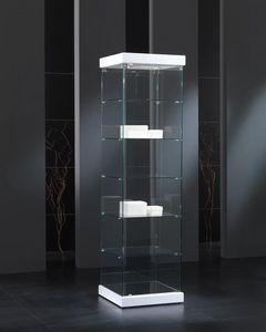 Black&White 5/S, Vitrine aus gehärtetem Glas mit quadratischer Basis