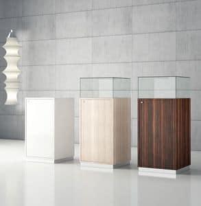 Quadratum Q/50A, Glasvitrine mit Container, Vitrine, Schmuck
