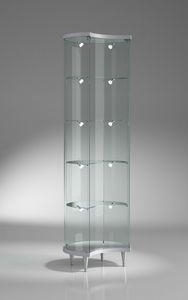 Top Line 3 203/ML, Halbmondvitrine mit verstellbaren Regalen