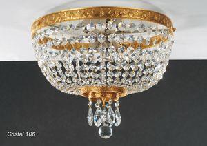 Art. CRISTAL 106, Deckenleuchte aus goldenem Messing mit Kristallanhängern