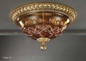 Art. CRISTAL 151, Deckenleuchte mit bernsteinfarbener Kristallschale