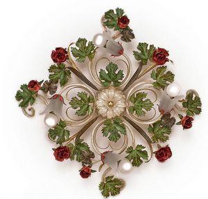 PL.5255/4, Deckenleuchte mit 4 Leuchten, mit Blättern und Rosen