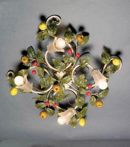 PL.7420/4, Deckenlampe mit dekorativen Blättern und Früchten