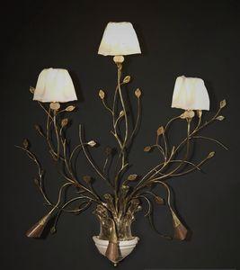 RAMI HL1008WA-3, Wandlampe aus bearbeitetem Eisen mit dekorativen Blättern
