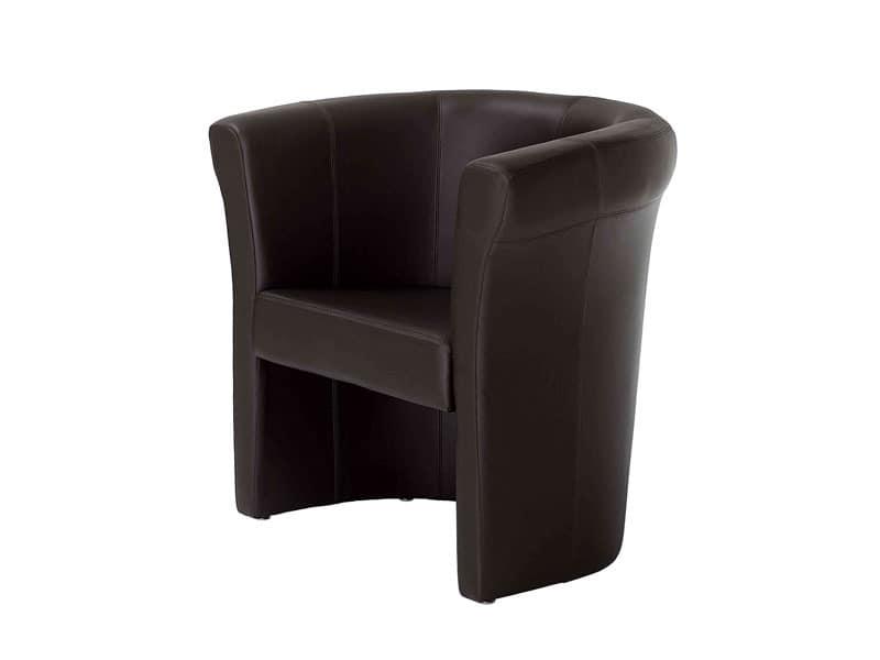 Penelope, Kuvertierung Wanne Stuhl, in Leder, für Wohnzimmer