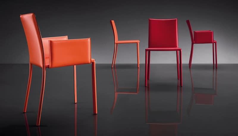 ART. 236 SUNRISE, Stuhl aus Leder, Metallbasis bezogen, für Wartezimmer