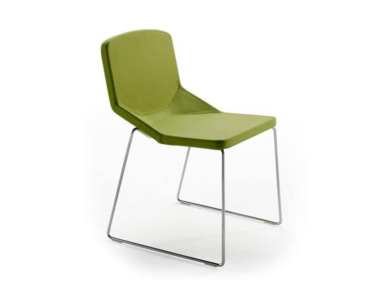Formula40 sled fabric, Moderne Sessel mit feuerhemmenden gepolsterte Sitzfläche, ideal für den Objektbereich