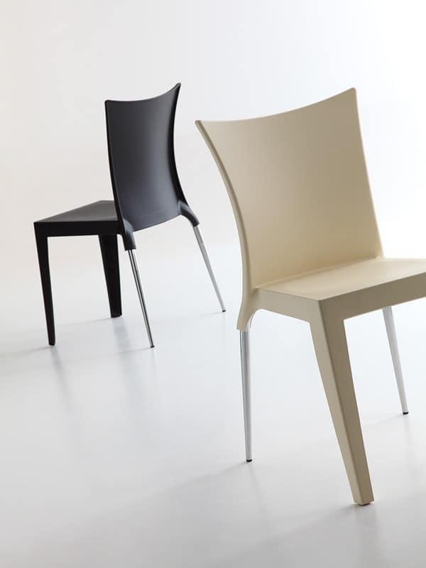 Jo, Elegantes Design Stuhl, Polypropylen Sitz und Rückenlehne, sowohl für die Innen- und Außenbereich