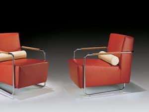 Helen, Sessel mit Metall sichtbaren Rahmen, Rückenpolster