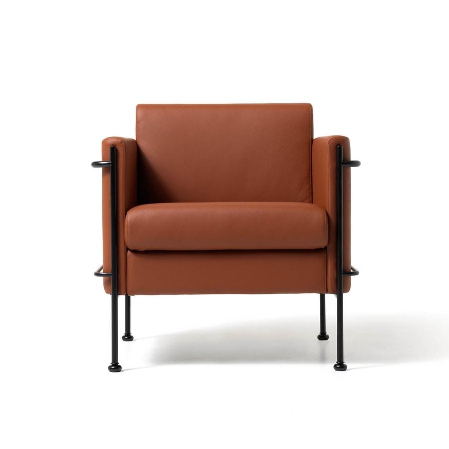 Jazz 1p, Gepolsterten Stuhl, sichtbare Stahlrahmen, für Wohnzimmer
