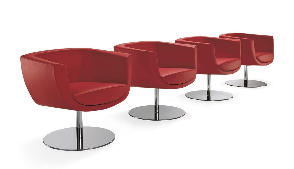 Koppa, Gepolsterter Sessel mit Stahlgestell, für Wartezimmer