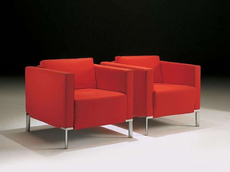 Nella, Sessel mit Stahlbeine, in Acrylfasern bedeckt