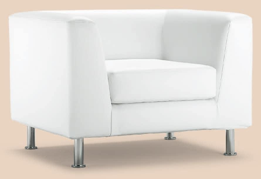 PL VEGA 1P, Sessel mit modernen Linien, Chromfüßen, für Hotels