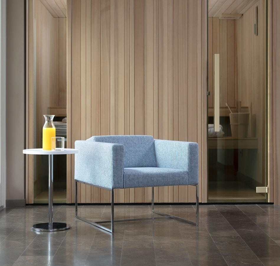 Square armchair, Moderner Sessel mit Vierkantrohr, für den Objektbereich