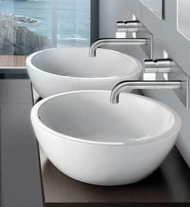 OVAL BASIN, Rund Aufsatzwaschbecken aus Keramik