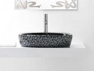 OVAL DECO BASIN, Schwarz gefärbte Waschbecken aus Keramik