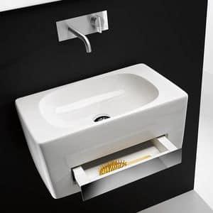 TOWER CR PLUS BASIN, Wand-Waschbecken aus Keramik mit integrierter Schublade