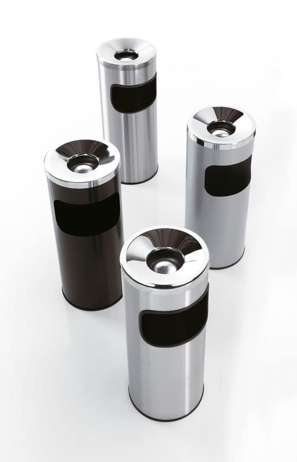 Serie 5a fire-resistant, Papierkörbe mit Ascher, aus Stahl, für Büro und Bar