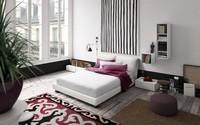 Vintage, Design-Bett, Holzbettrahmen, verstellbare gepolsterte Kopfteil