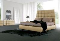 PACIFICO, Bett bedeckt in Leder, Chrom Beine, für Schlafzimmer