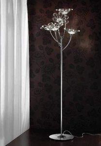 Daisy Stehleuchte, Stehlampe aus verchromtem Metall mit Glas-Diffusoren