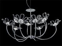 Daisy Kronleuchter, Kronleuchter mit Rahmen aus verchromtem Metall, Glas Diffusoren