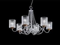 Class Kronleuchter, Kronleuchter mit Lampenschirmen in Organza und Sw Anhänger