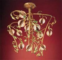 Melograno Kronleuchter, Lüster im goldenen Metall und Knistern Glas