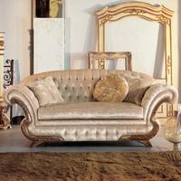 Diletta, Luxury klassischen Sofa, Rahmen mit Blattgold-Finish