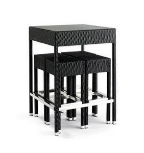 Outdoor set, Gewebte Barhocker und Tisch für den Außenbereich, Glasplatte