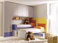 Comp. 208, Kinderbett mit Wandpaneelen ausgestattet, farbig
