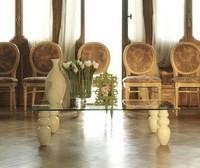 dl900 bali, Geradliniges Design kleiner Tisch mit Glasplatte