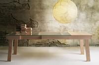 Banc, Tabelle mit Verlängerung, Esche Struktur, Glasplatte
