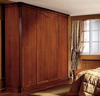 Alice Kleiderschrank Holz-Tür, Kleiderschrank mit 4 Türen, Nussbaum furniert, klassischen Stil