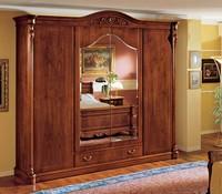 Althea Kleiderschrank, Klassischer Kleiderschrank in Nussbaum mit 4 Türen für Schlafzimmer