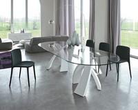 BIG ELISEO, Tisch mit doppelter Basis und Platte aus Glas, Holz oder Keramik