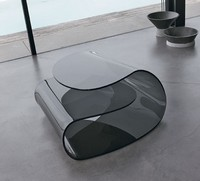 VOLUP, Couchtisch aus gebogenem Glas, hochwertige Verarbeitung, Büro