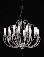 Valentina ceiling lamp, 12-Arm-Kronleuchter, bobeches und Kristall Anhänger