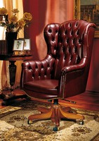 IMPERO / HOME OFFICE Armchair President, Büro klassischer Stuhl, in Leder, mit Rädern