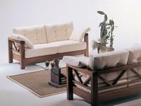 Hollywood, Sofa mit sichtbaren Holz, schlichtes Design, für Dachboden