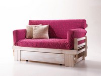 Botticelli, Rustikales Sofa-Bett, aus Holz, mit Container